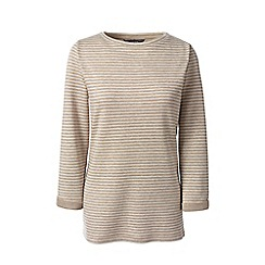 Lands' End - Brown petite duofold stripe top