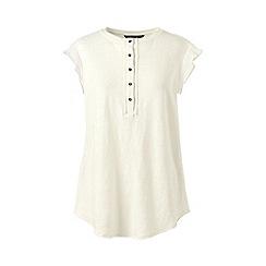 Lands' End - Cream petite sleeveless linen jersey ruffle Henley top