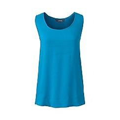 Lands' End - Blue regular sleeveless satin-back crepe top
