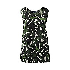 Lands' End - Green regular sleeveless satin-back crepe print top