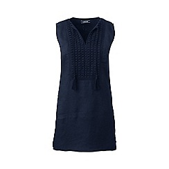 Lands' End - Blue regular linen broderie anglaise trim tunic