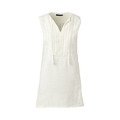 Lands' End - White regular linen broderie anglaise trim tunic