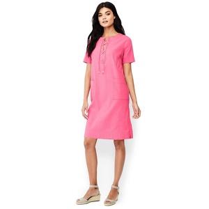Lands' End Pink linen blend lace-up shift dress