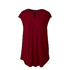 Lands_End_Women - Red regular cap sleeves shirred split neck tunic