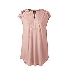 Lands' End - Pink regular cap sleeves shirred split neck tunic