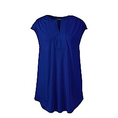 Lands' End - Blue regular cap sleeves shirred split neck tunic