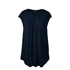 Lands' End - Blue cap sleeves shirred split neck tunic