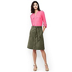 Lands' End - Green button front A-line skirt