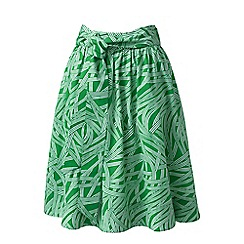 Lands_End_Women - Green print A-line skirt