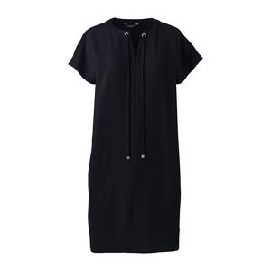 Lands' End Black satin back crepe shift dress