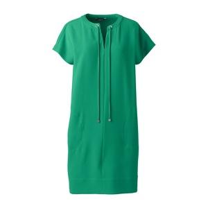 Lands' End Green satin back crepe shift dress