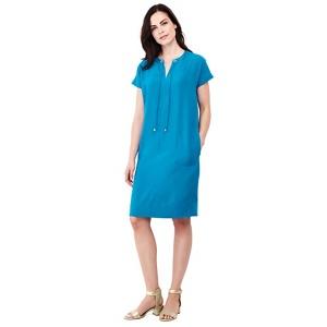 Lands' End Blue satin back crepe shift dress