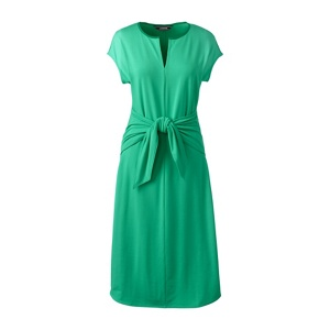 Lands' End Green soft stretch jersey tie front dress