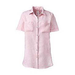 Lands' End - Pink plus short sleeves print linen shirt