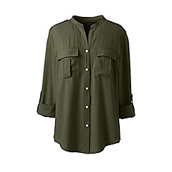 Lands' End - Green plus roll sleeves military shirt