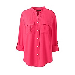 Lands' End - Pink plus roll sleeves military shirt