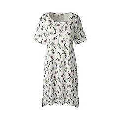 Lands' End - Pink petite short sleeve knee length patterned supima nightdress