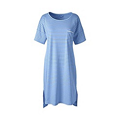 Lands' End - Blue short sleeve knee length striped supima nightdress