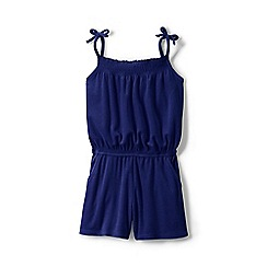 Lands' End - Girls' blue strappy jersey playsuit