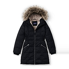 Lands' End - Girls' black fleece lined down coat