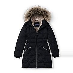 Lands' End - Girls' black fleece lined down coat