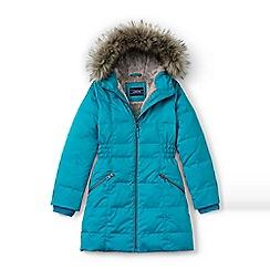 Lands' End - Girls' blue fleece lined down coat