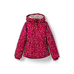 Lands' End - Girls' pink fleece lined patterned down jacket