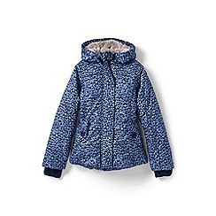 Lands' End - Girls' blue fleece lined patterned down jacket