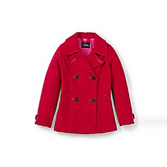 Lands' End - Girls' red pea coat