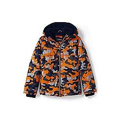 Lands' End - Toddler boys' orange print fleece-lined jacket