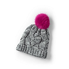 Lands' End - Girls' grey chunky cable hat