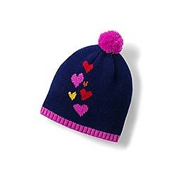 Lands' End - Girls' pink graphic beanie hat