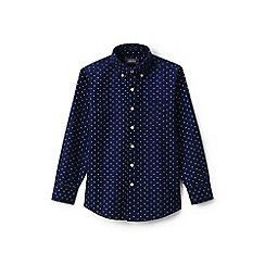 Lands' End - Boys' blue print washed oxford shirt