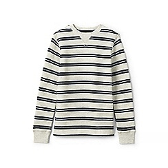 Lands' End - Boys' white striped waffle tee