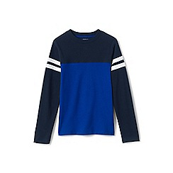 Lands' End - Boys' blue colour block baseball tee