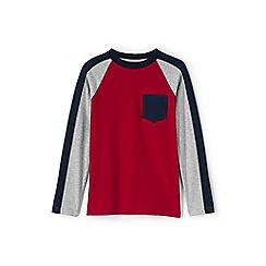 Lands' End - Boys' red colour block raglan tee