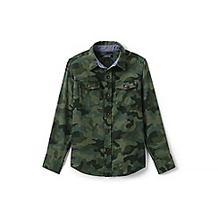 Lands' End - Boys' green camouflage flannel shirt