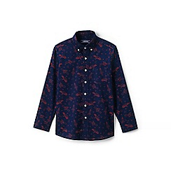 Lands' End - Boys' blue print poplin shirt