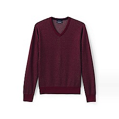 Lands' End - Red birdseye fine gauge v-neck jumper