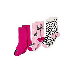 Lands' End - Pack of 3 Girls' pink novelty socks