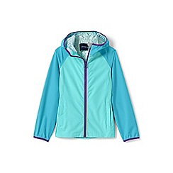 Lands' End - Girls' blue waterproof breakwater rain jacket