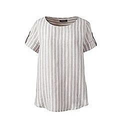 Lands_End_Women - Beige stripe linen summer top