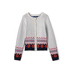 Lands' End - Girls' white fox fair isle cardigan