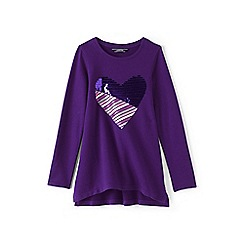 Lands' End - Girls' purple embellished sweatshirt legging top