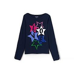 Lands' End - Girls' blue love graphic boatneck jersey top
