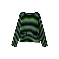 Lands' End - Girls' green stripe pocket boatneck jersey top