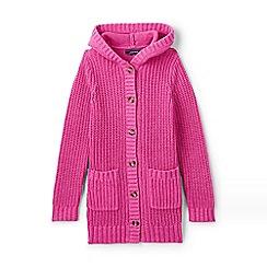 Lands' End - Girls' pink hooded cotton blend coatigan