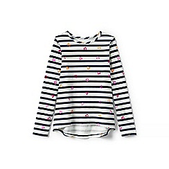 Lands' End - Girls' blue patterned long sleeve jersey tee