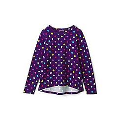 Lands' End - Girls' purple patterned long sleeve jersey tee