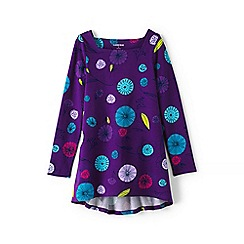 Lands' End - Girls' purple square neck floral pattern trapeze legging top